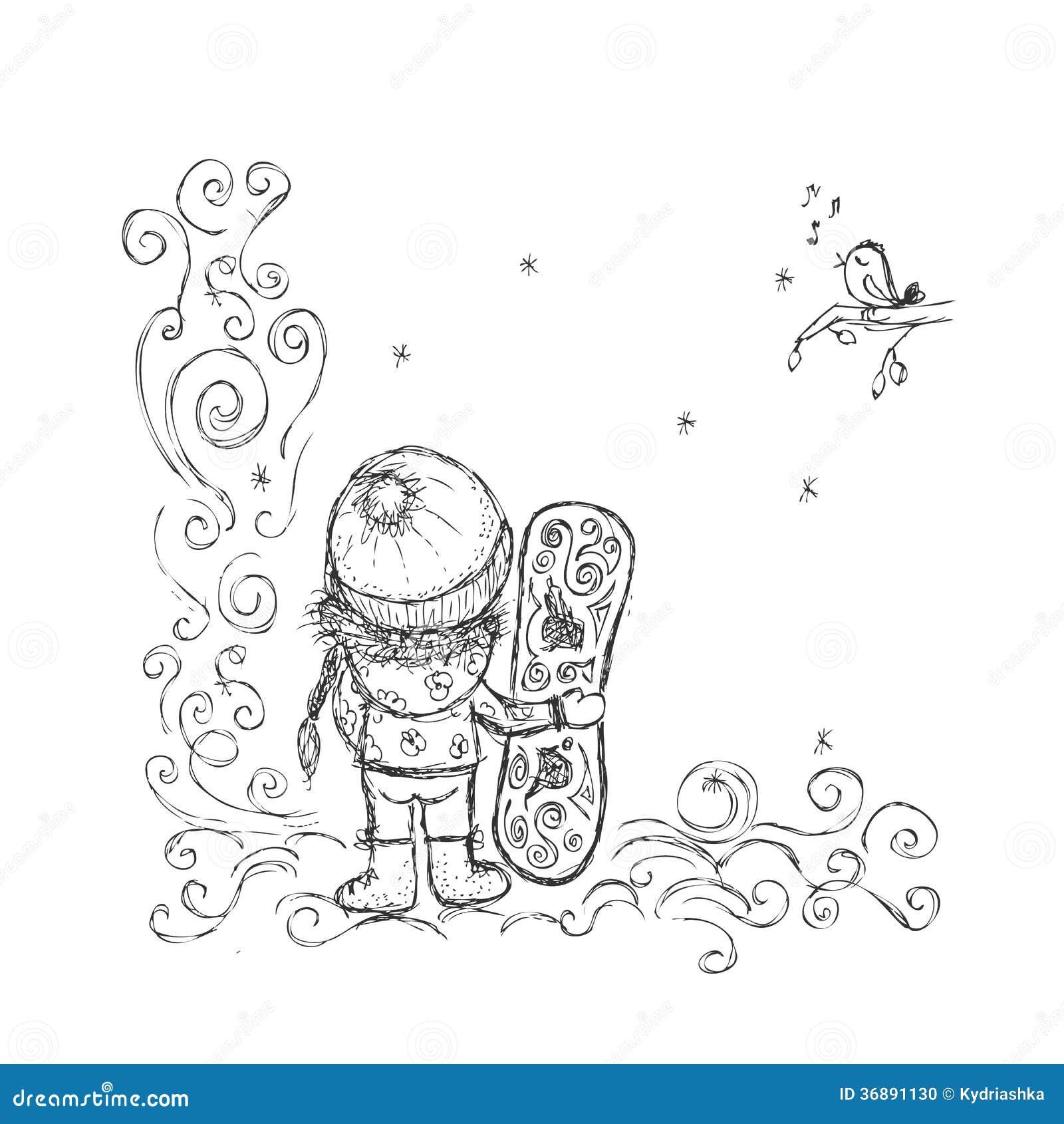 Download Ragazza Sveglia Con Lo Snowboard, Schizzo Per La Vostra Progettazione Illustrazione Vettoriale - Illustrazione di mano, divertente: 36891130