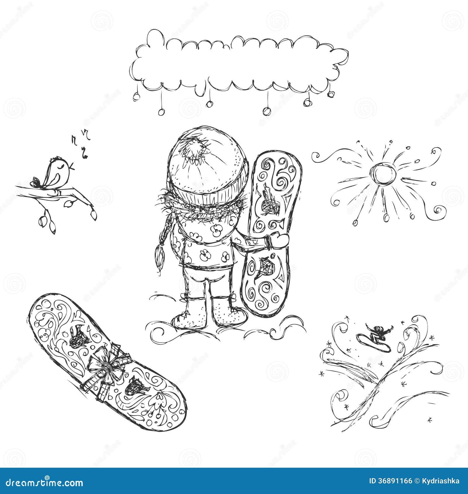 Download Ragazza Sveglia Con Lo Snowboard, Schizzo Per La Vostra Progettazione Illustrazione Vettoriale - Illustrazione di uccello, disegno: 36891166