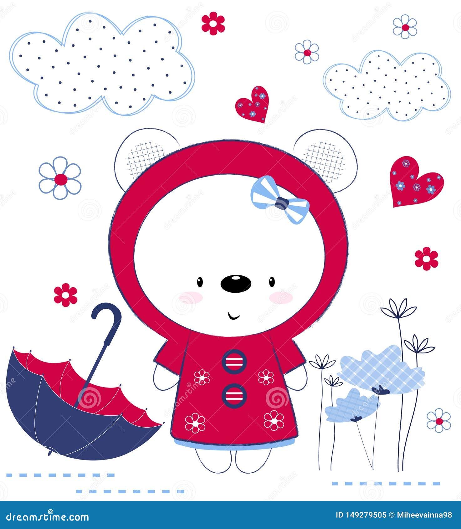 Ragazza sveglia dell orsacchiotto con l ombrello, i fiori ed i cuori La stampa per i bambini, manifesto, l abbigliamento dei bamb