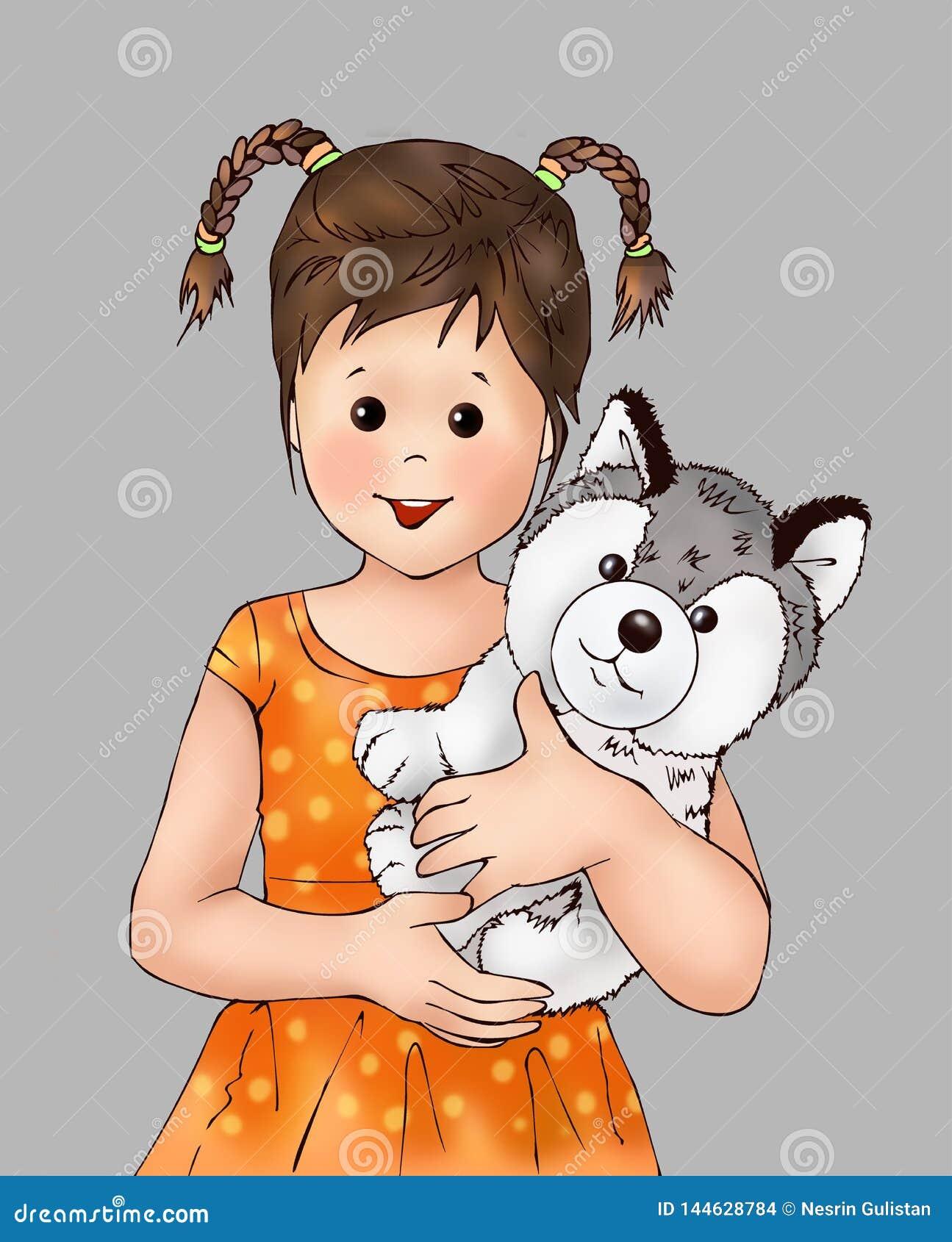 Ragazza sveglia e cucciolo minuscolo, bambino, animale del cucciolo, essere umano, libro da colorare, illustrasion del libro di s