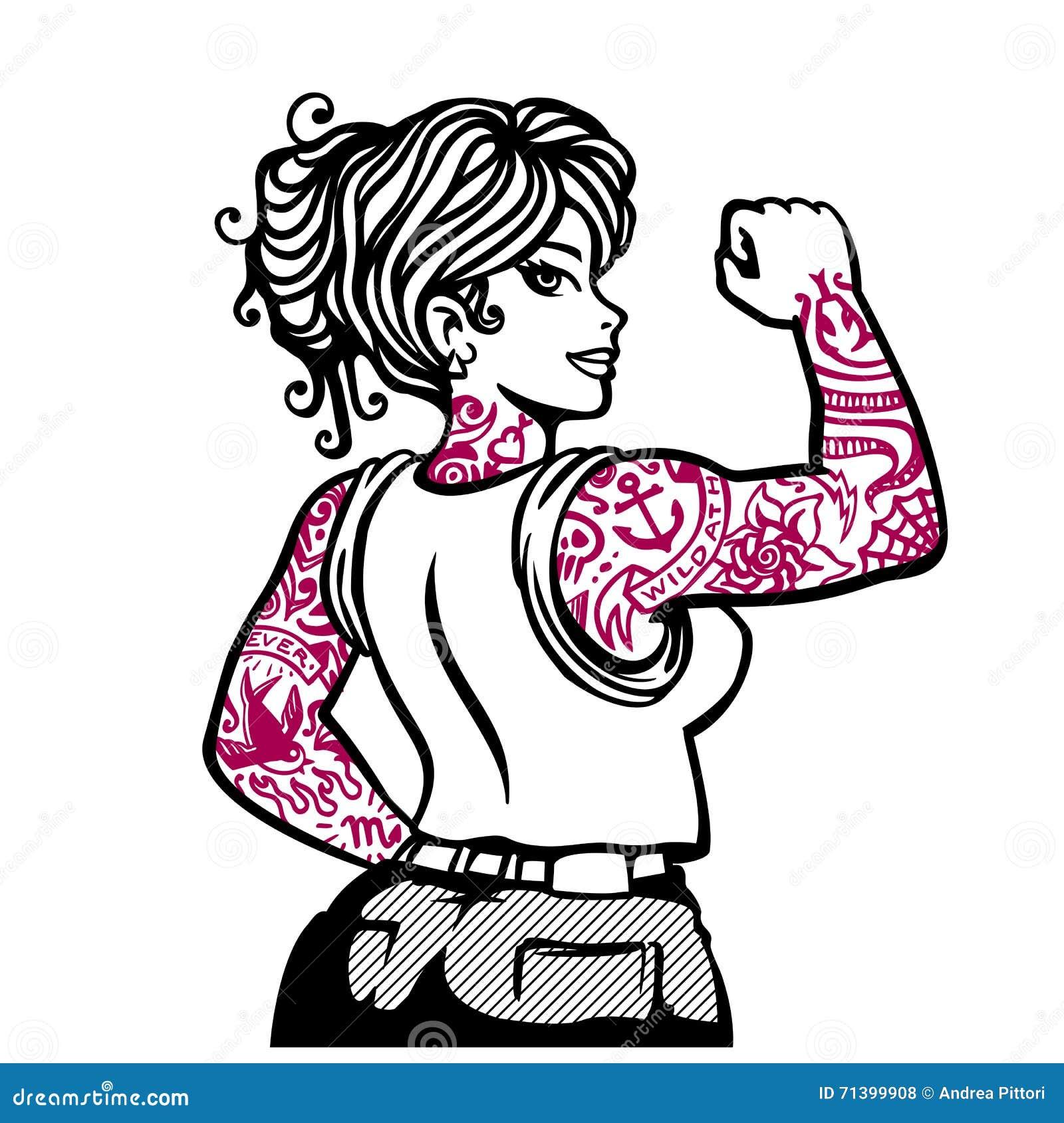 Ragazza tatuata, illustrazione inchiostrata di vettore della donna