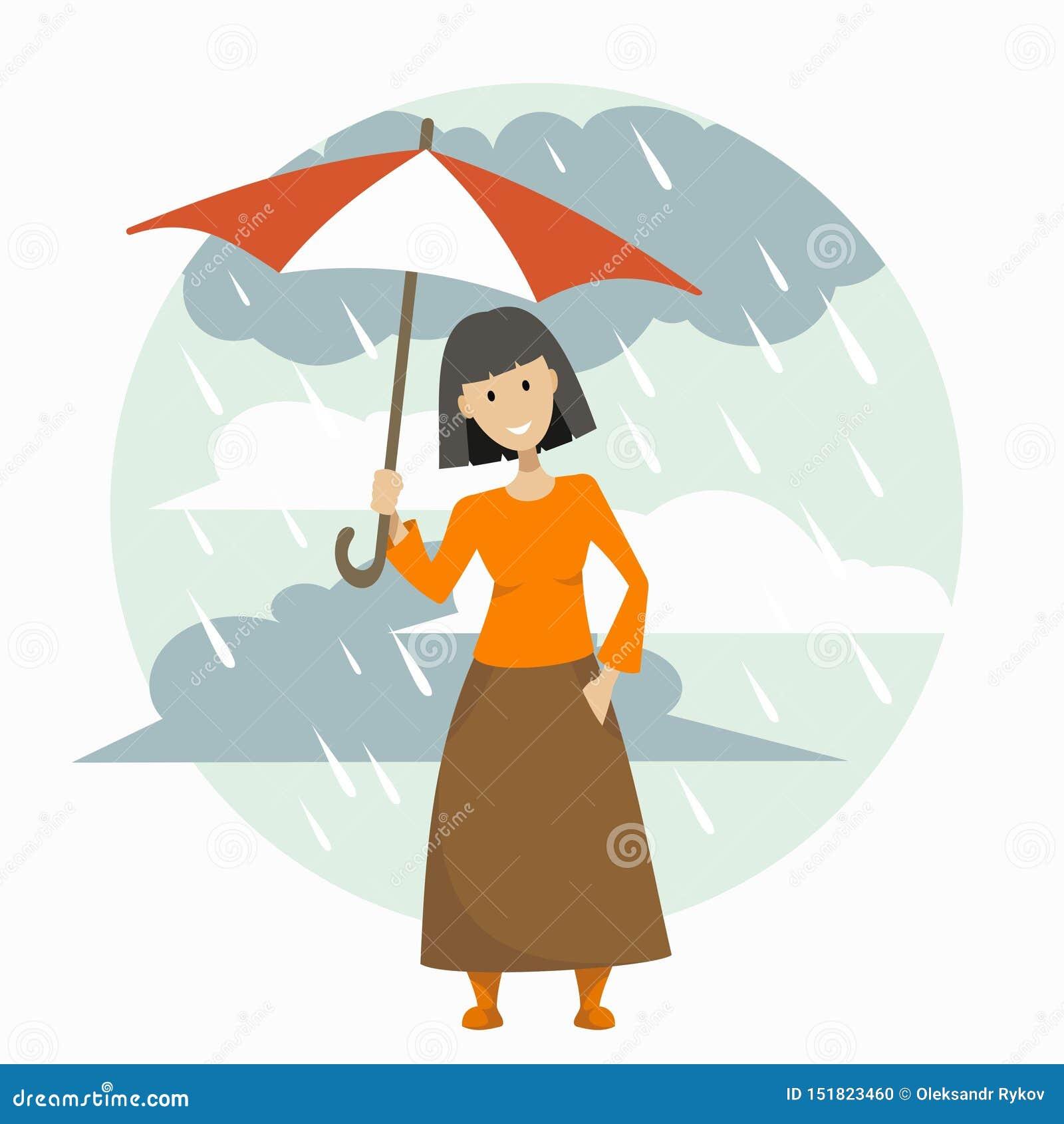 Ragazza in una gonna lunga con un ombrello