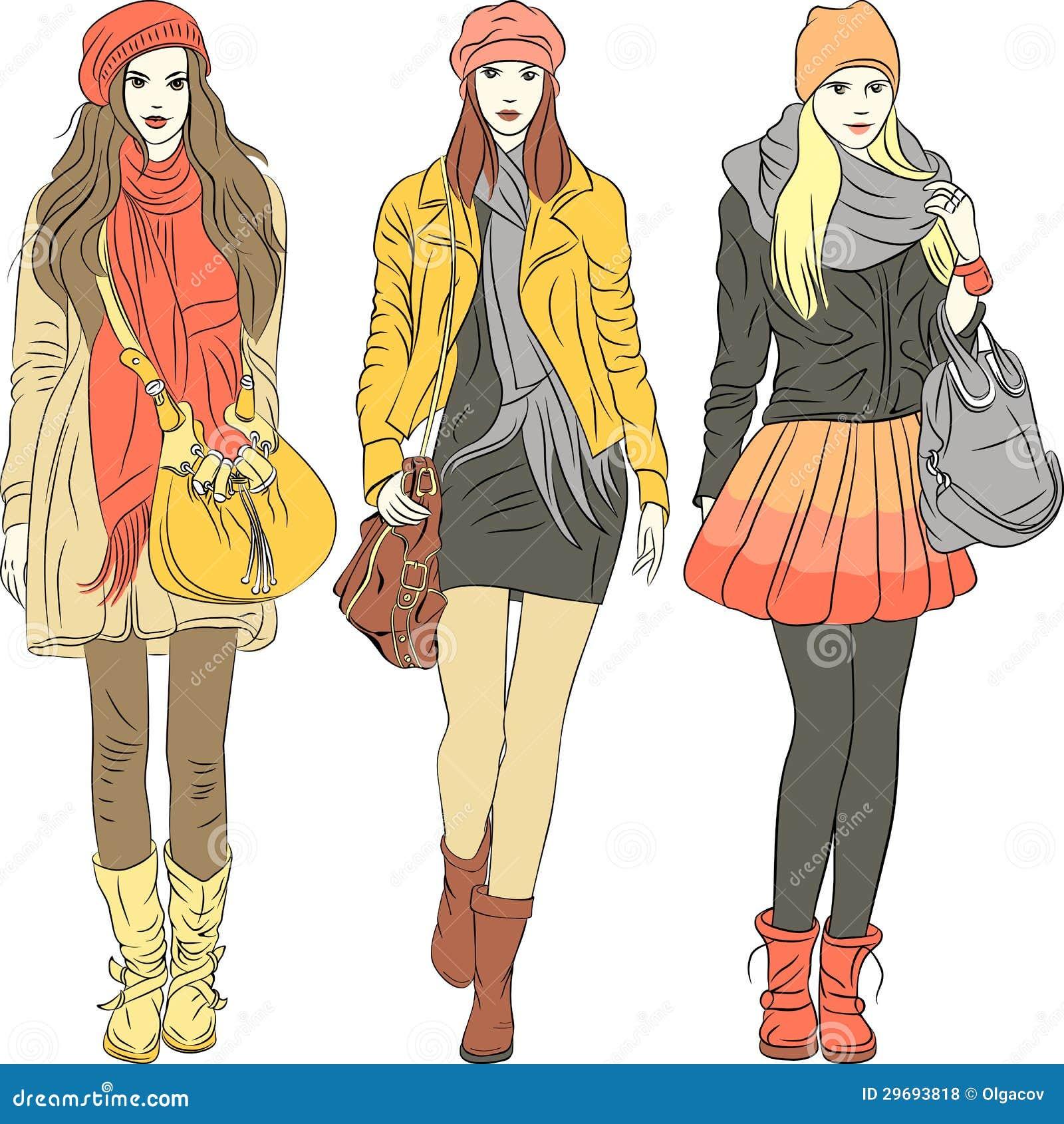 Ragazze Alla Moda Di Modo Di Vettore In Vestiti Caldi Illustrazione ... 8d21062096d