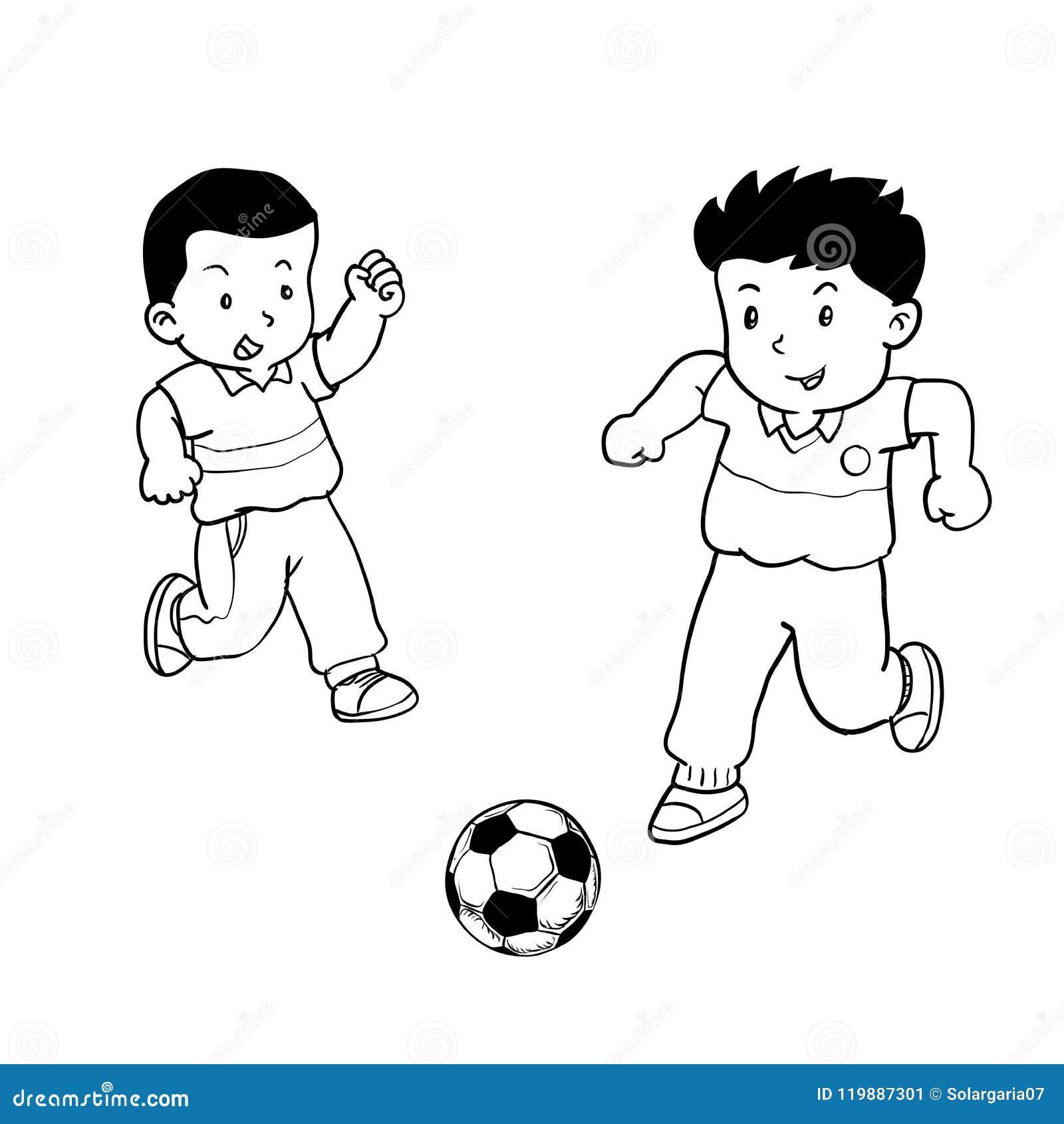 Ragazzi Che Giocano A Calcio Illustrazione Di Vettore