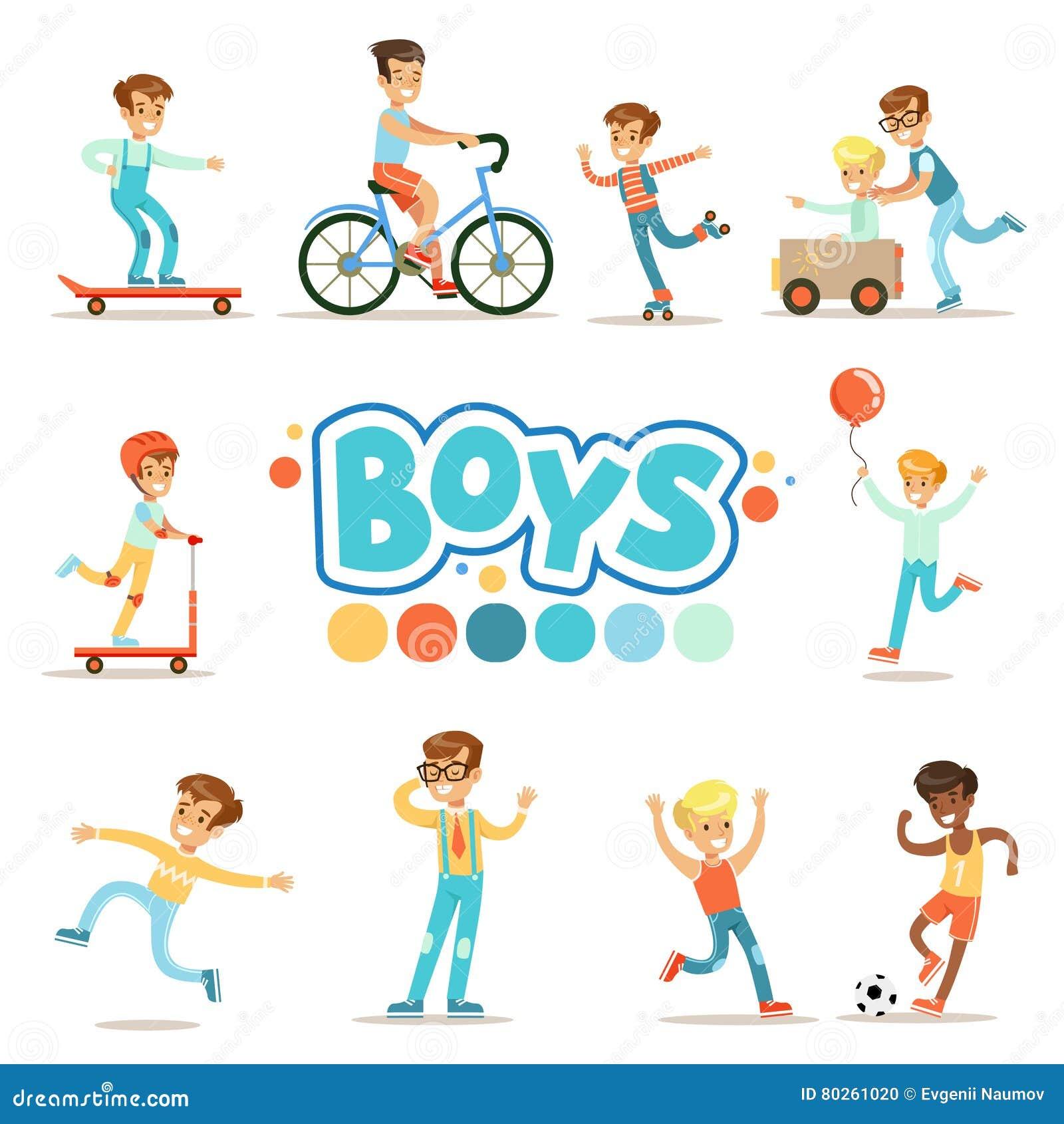 Ragazzi felici ed il loro comportamento classico previsto con i giochi attivi e le pratiche di sport fissate del ruolo maschio tr