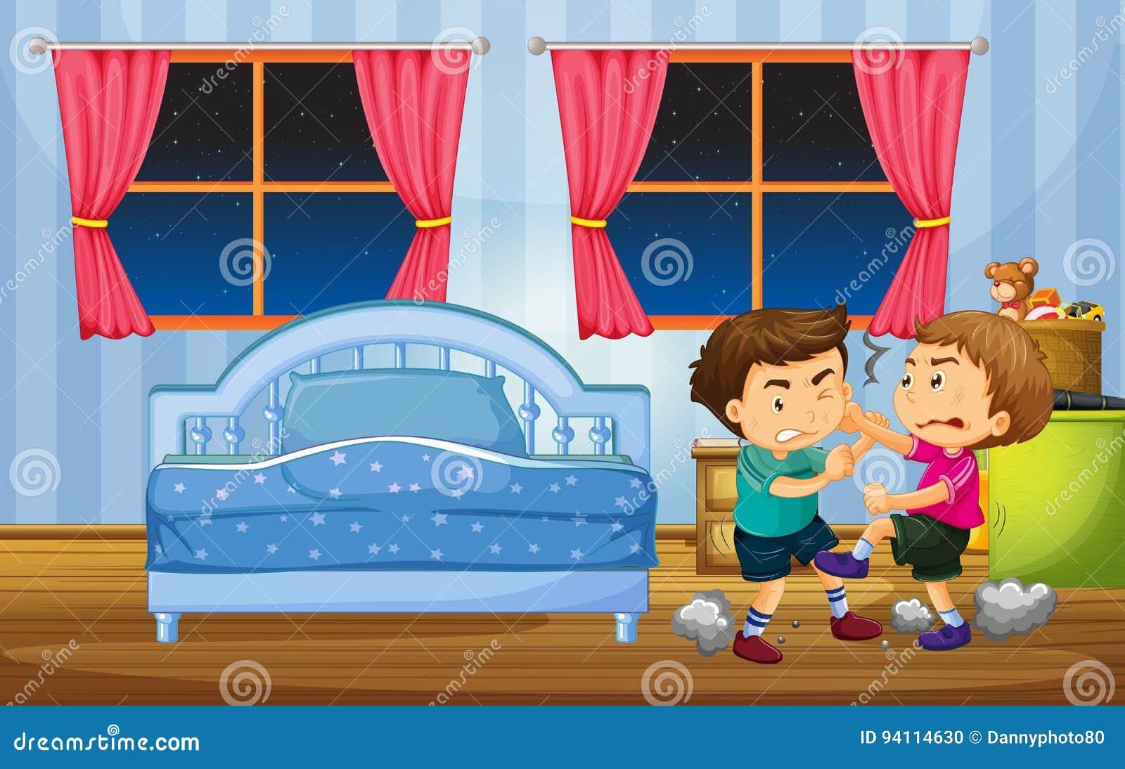 Ragazzini che combattono nella camera da letto