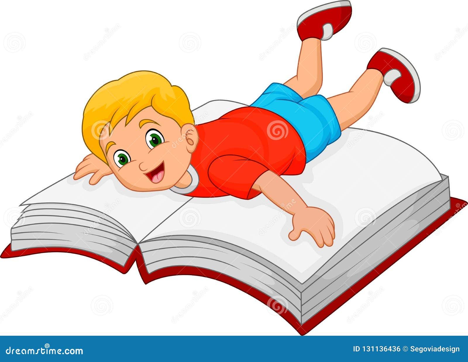 Ragazzino del fumetto con il grande libro