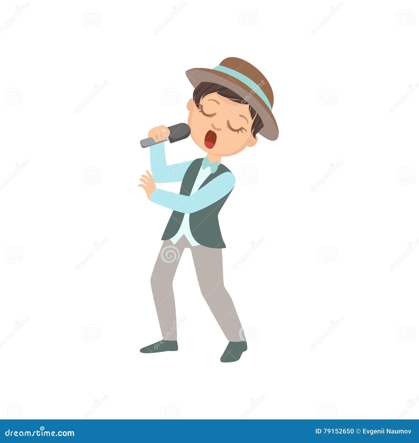Ragazzo in canto del cappello nel karaoke