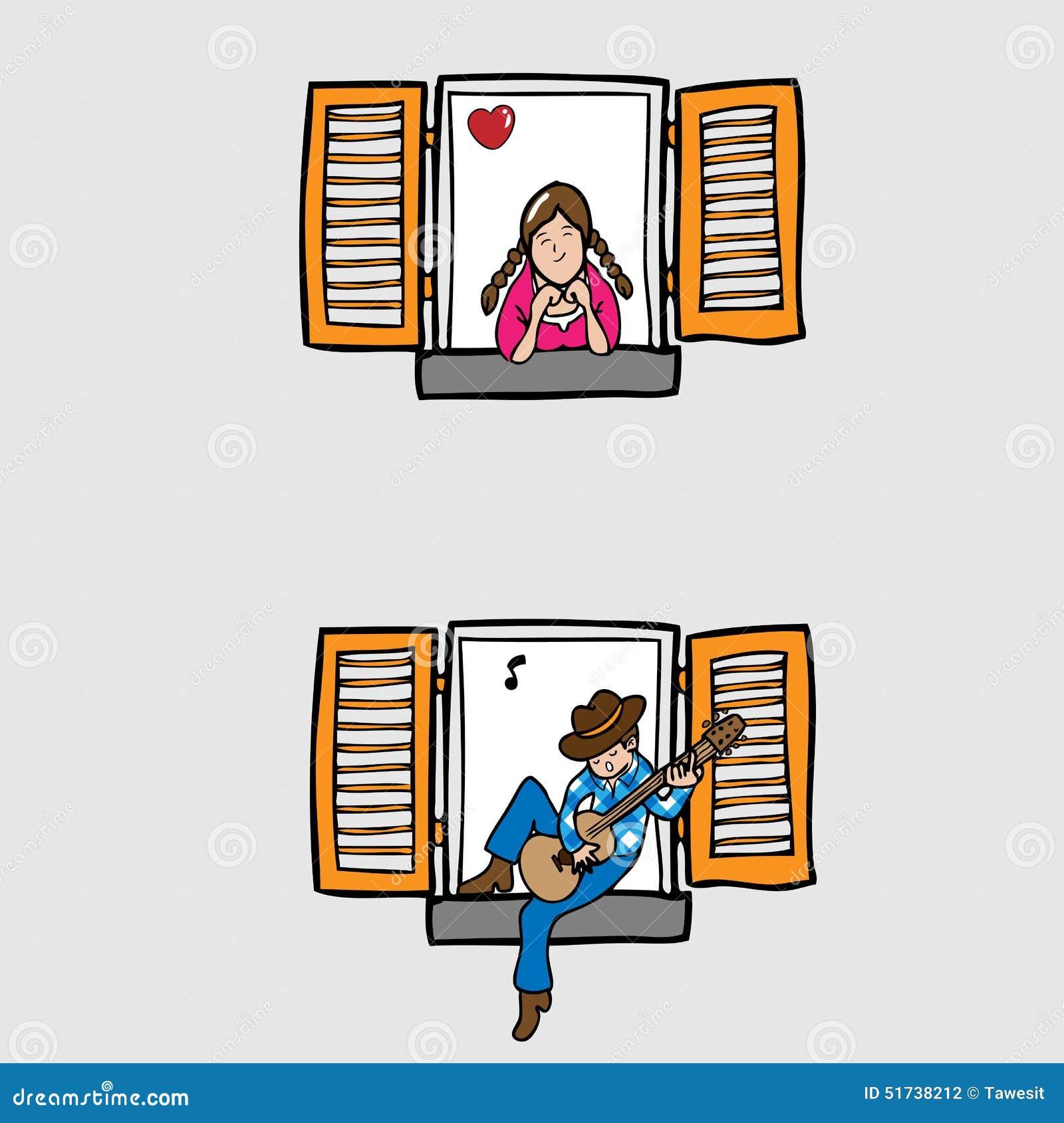 Ragazzo che gioca chitarra per la ragazza della finestra for Ragazza alla finestra quadro