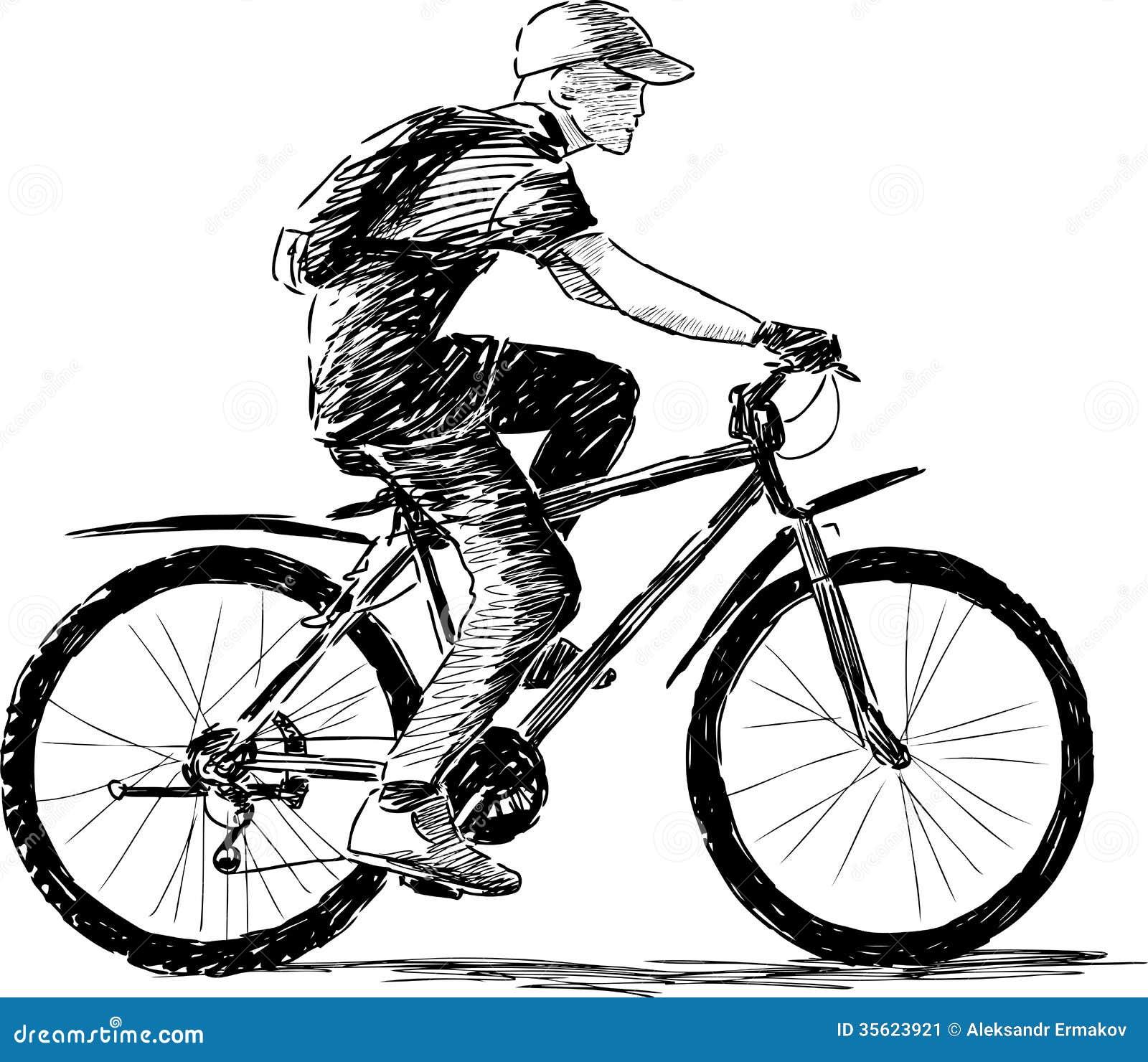 Estremamente Ragazzo che guida una bici immagine stock. Immagine di abbozzo  VE32
