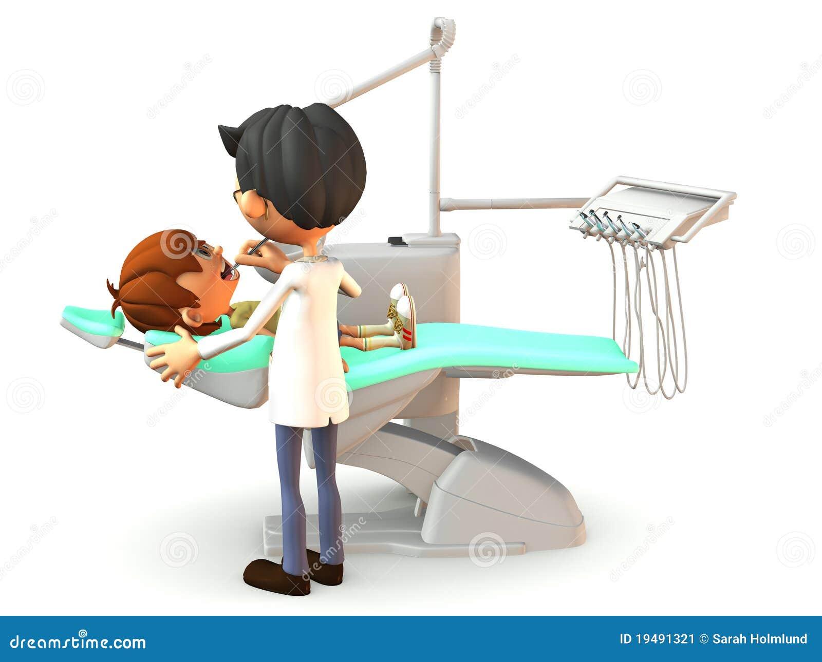 Ragazzo del fumetto che ottiene un esame dentale.