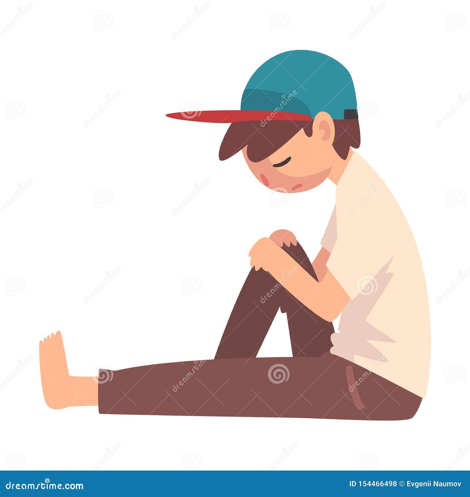 Ragazzo depresso che si siede sul pavimento, adolescente sollecitato infelice, illustrazione sola, ansiosa, abusata di vettore de