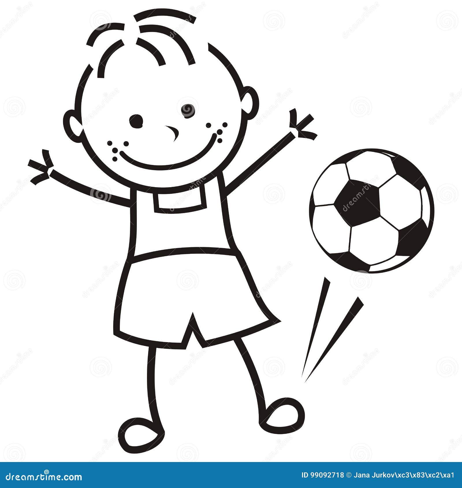 Ragazzo E Pallone Da Calcio Illustrazione Vettoriale Illustrazione