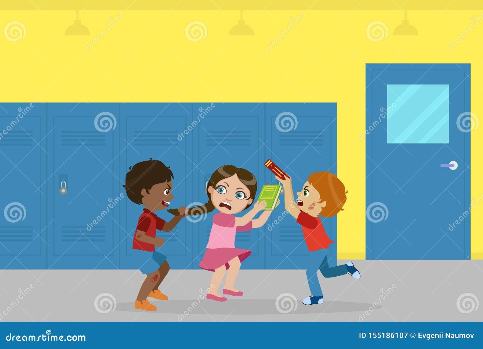 Ragazzo e ragazza che combattono per la palla, cattivo comportamento, conflitto fra i bambini, derisione, opprimente all illustra