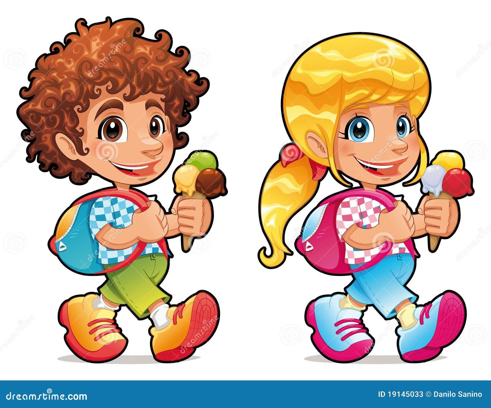 Ragazzo e ragazza con il gelato