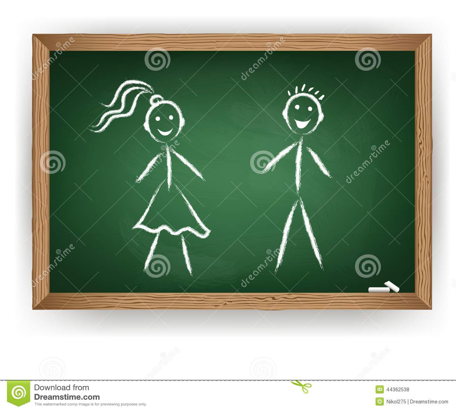 Ragazzo e ragazza sulla lavagna