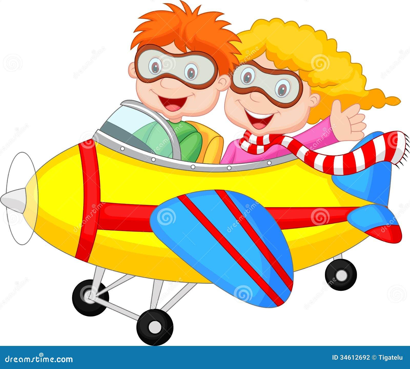 Ragazzo e ragazza svegli del fumetto su un aereo