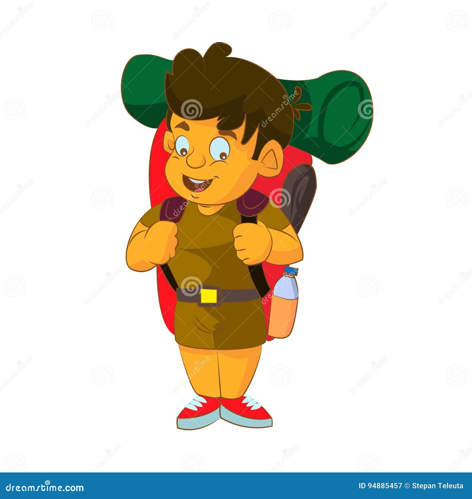 Ragazzo cartone animato esploratore vestito ragazzo