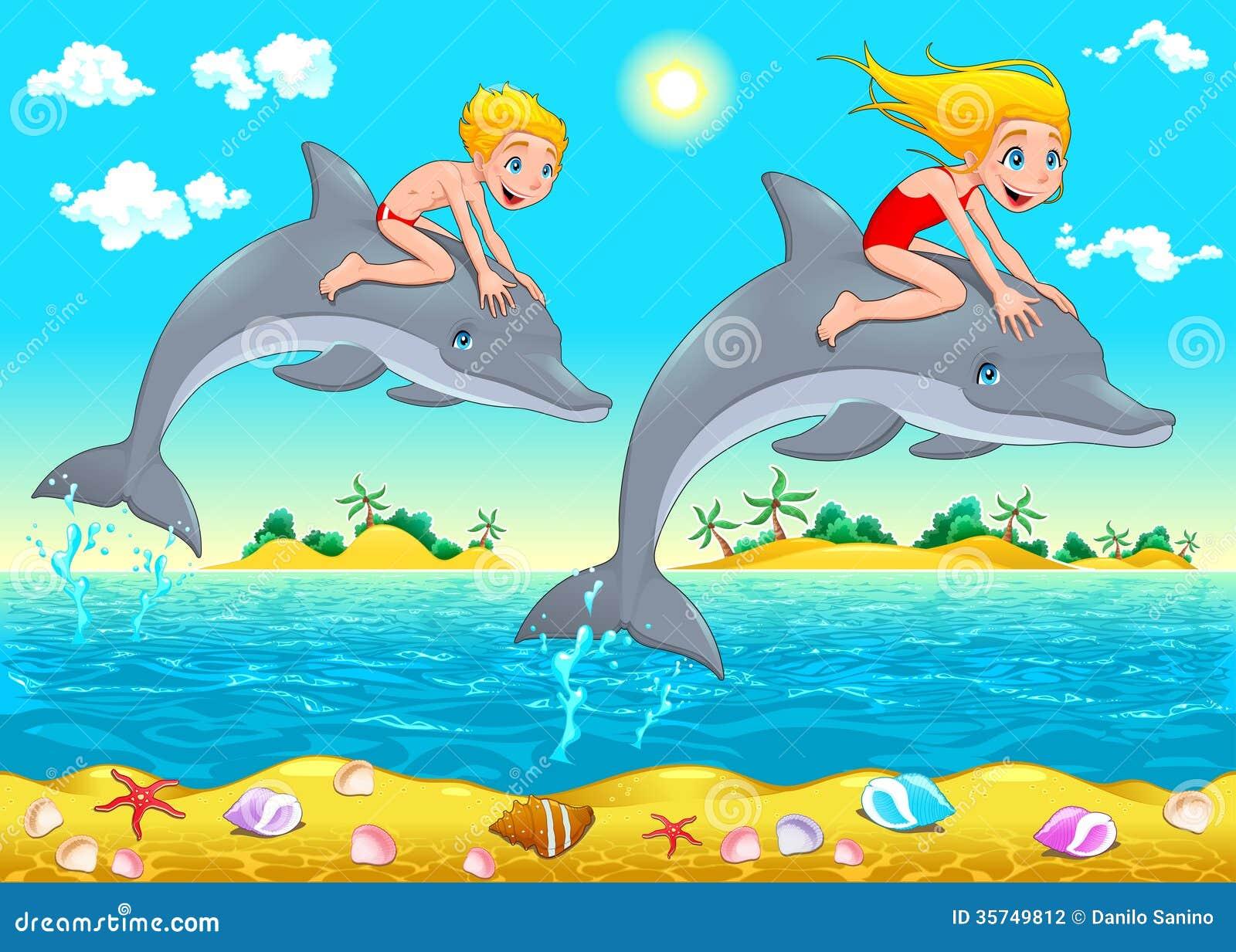 Ragazzo, ragazza e delfino nel mare.