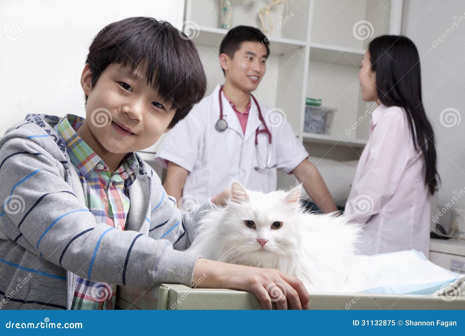 Ragazzo sorridente con il gatto dell animale domestico nell ufficio del veterinario