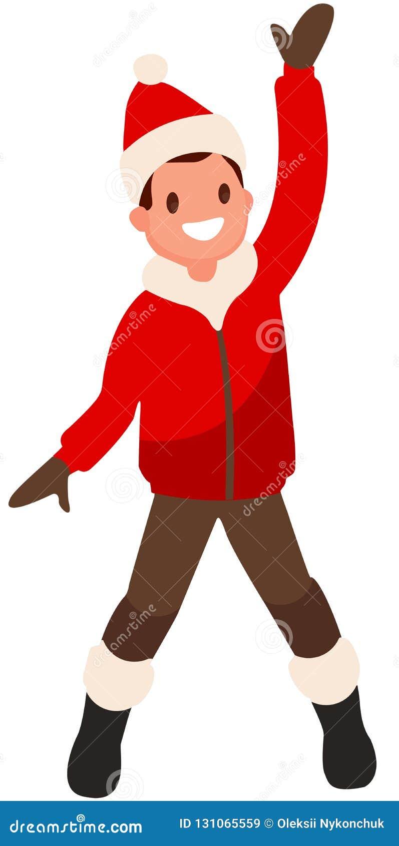 Ragazzo su fondo bianco nel salto rosso dei vestiti