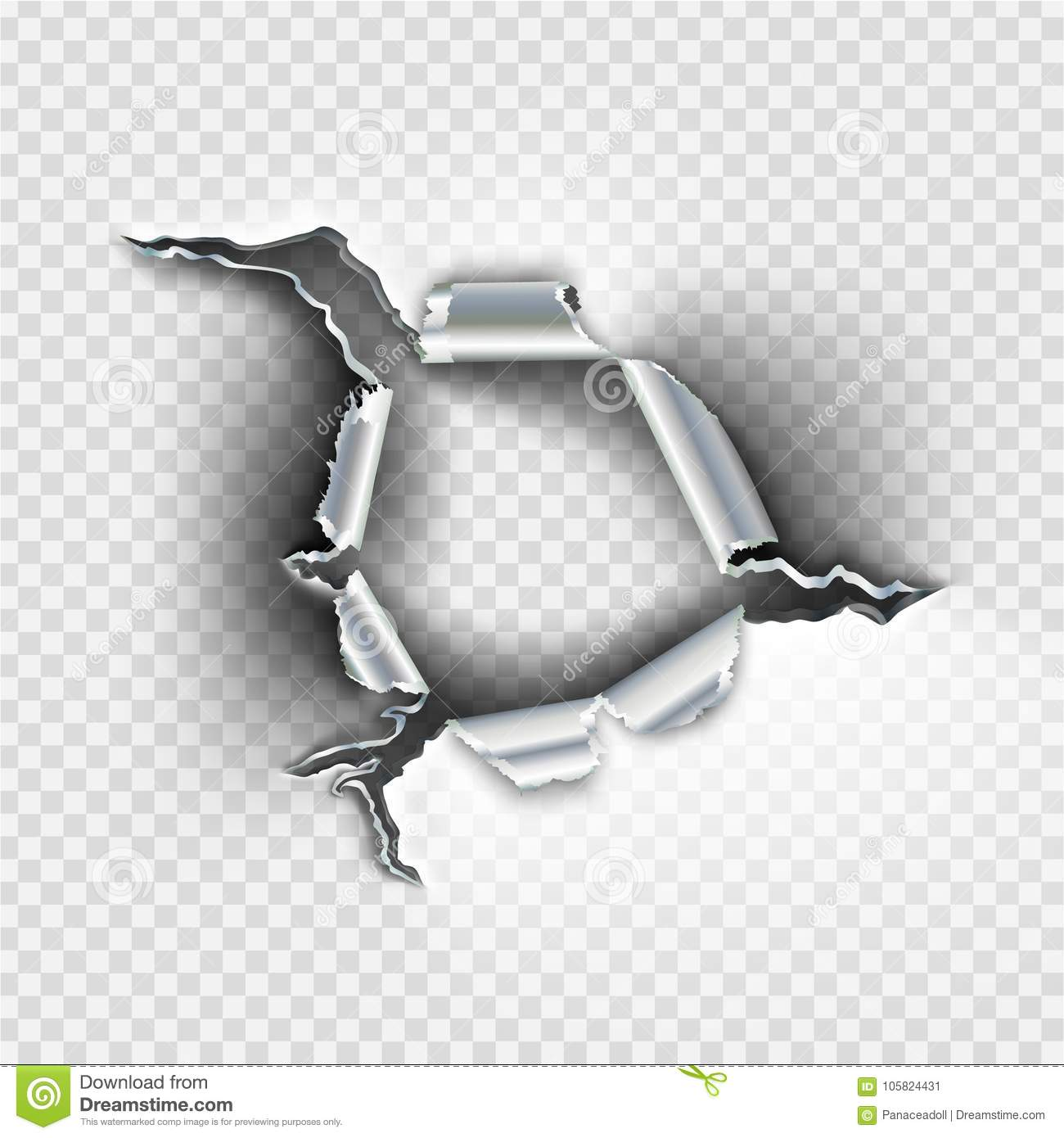 Ragged Bullet Hole Torn In Ripped Metal Stock Illustration