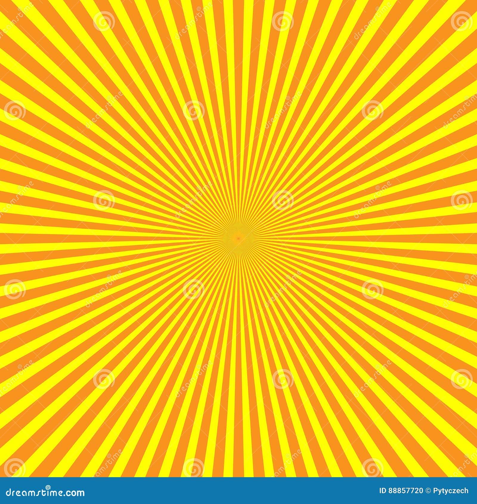 Raggi di luce giallo arancione nella disposizione radiale Il sole irradia il tema Reticolo astratto della priorità bassa Vettore