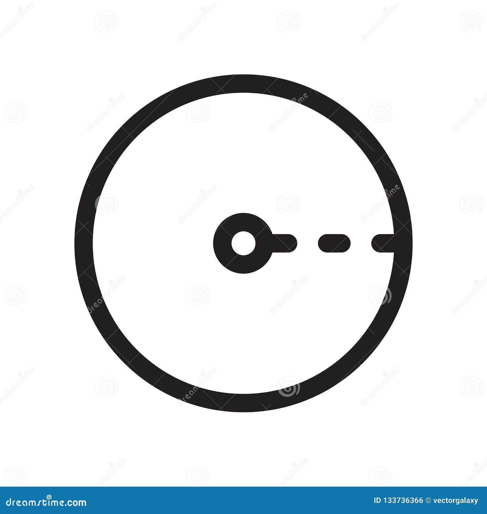Raggio del segno e del simbolo di vettore dell icona del cerchio isolato su fondo bianco, raggio del concetto di logo del cerchio