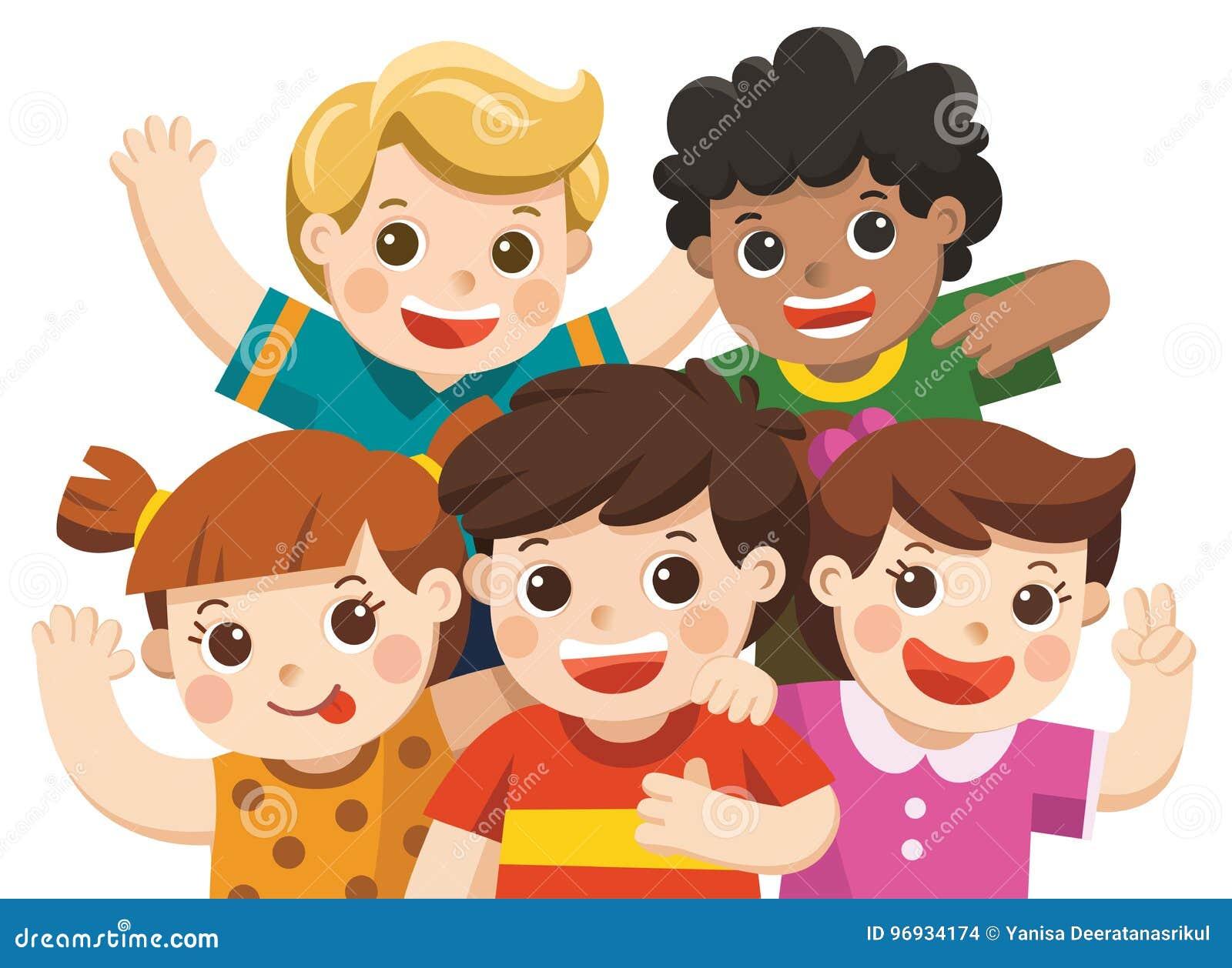 Raggruppi i migliori amici sorridere felice, abbracciare ed ondeggiare le loro mani