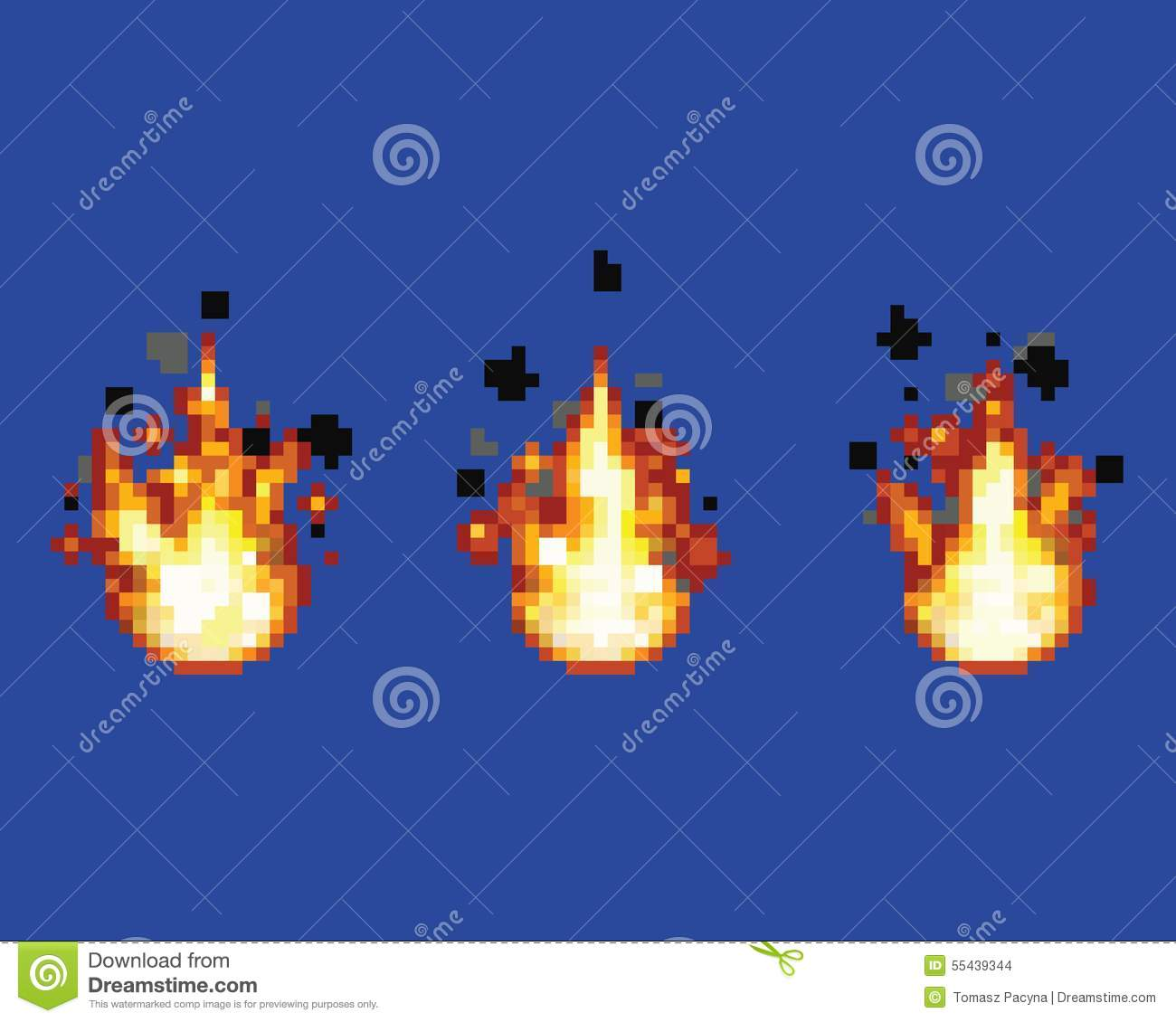 Stock Vector: Raging flame - animation frames video game asset pixel ...