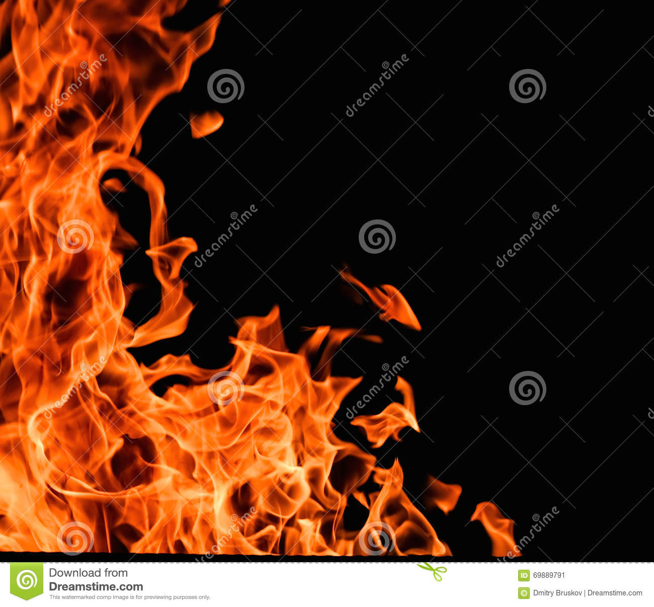 Red Fire Flames On A Black Background Stock Photography