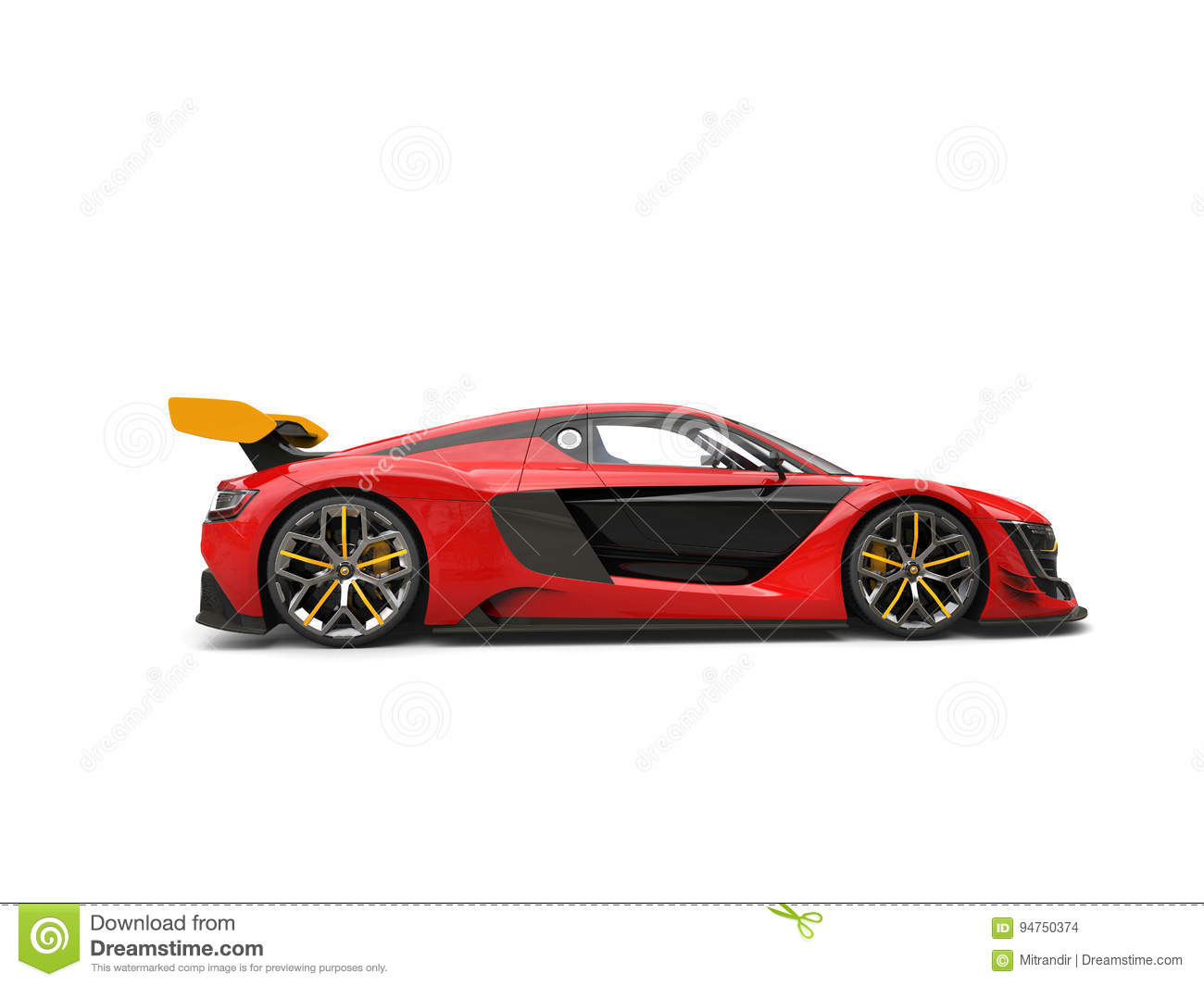 Raging Red Race Car With Yellow Rear Wing Side View Stock