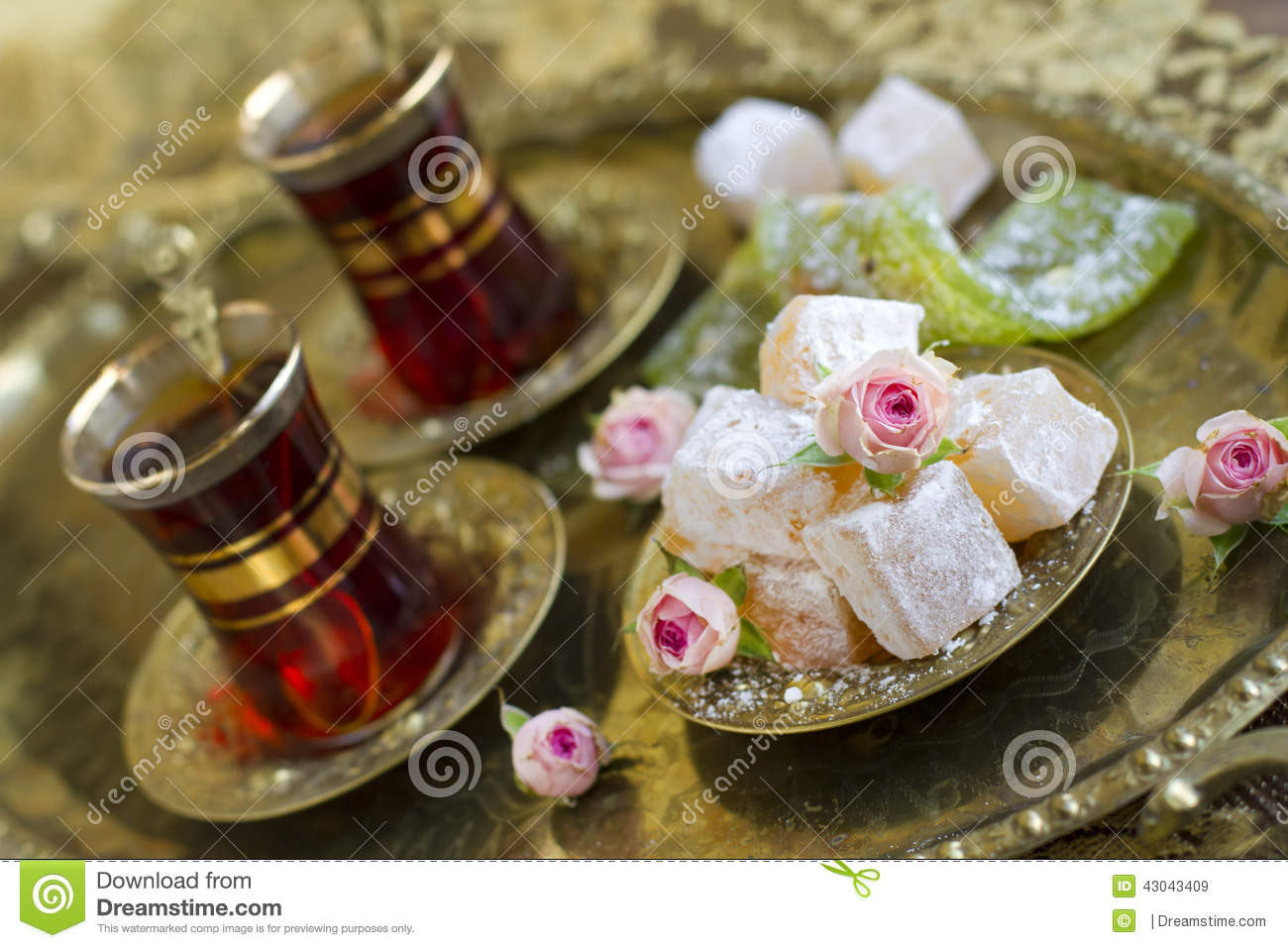 Rahat-lokum With Tea And Roses Stock Photo - Image: 43043409
