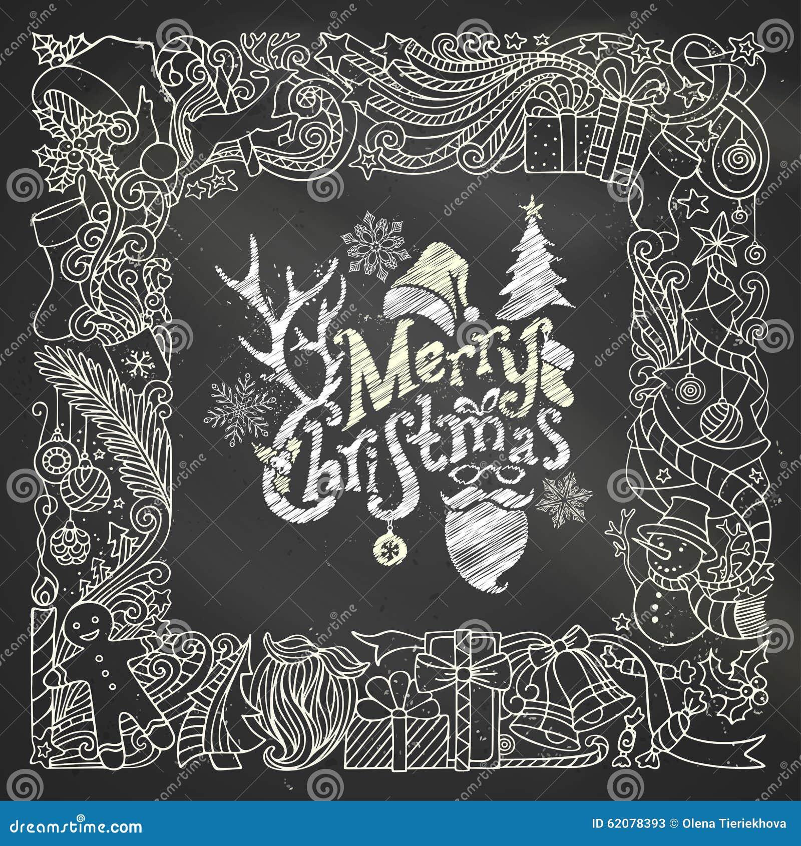rahmen der kreide frohen weihnachten auf tafelhintergrund vektor abbildung bild 62078393. Black Bedroom Furniture Sets. Home Design Ideas