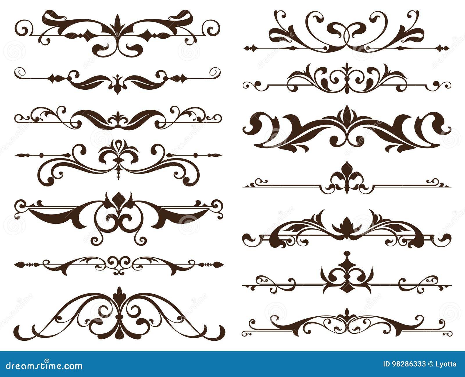 Rahmen, Ecken, Grenzen Mit Empfindlichen Strudeln In Art Nouveau ...