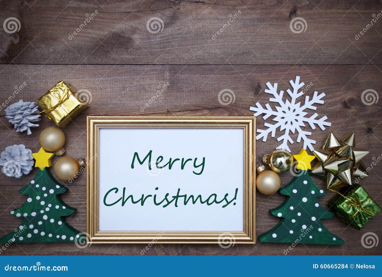 Rahmen Mit Dekorations-und Text-frohen Weihnachten Stockfoto - Bild ...