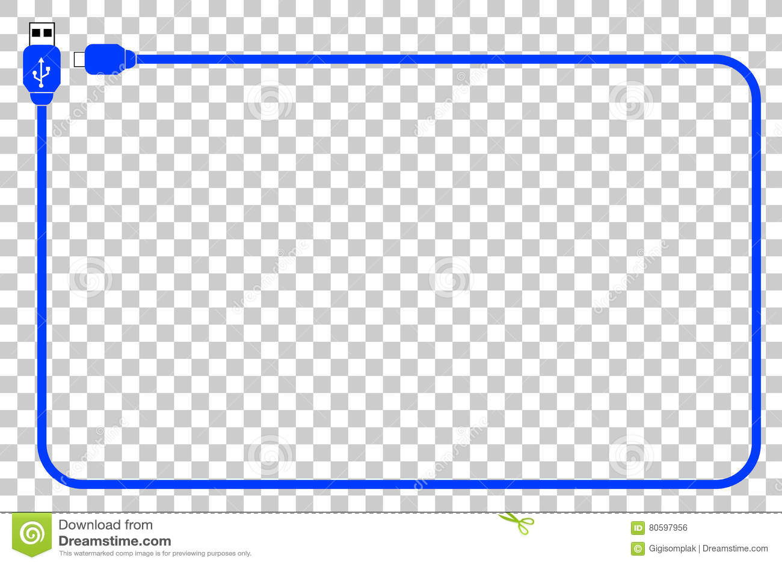 Rahmen - USB-Kabel Am Transparenten Effekt-Hintergrund Vektor ...