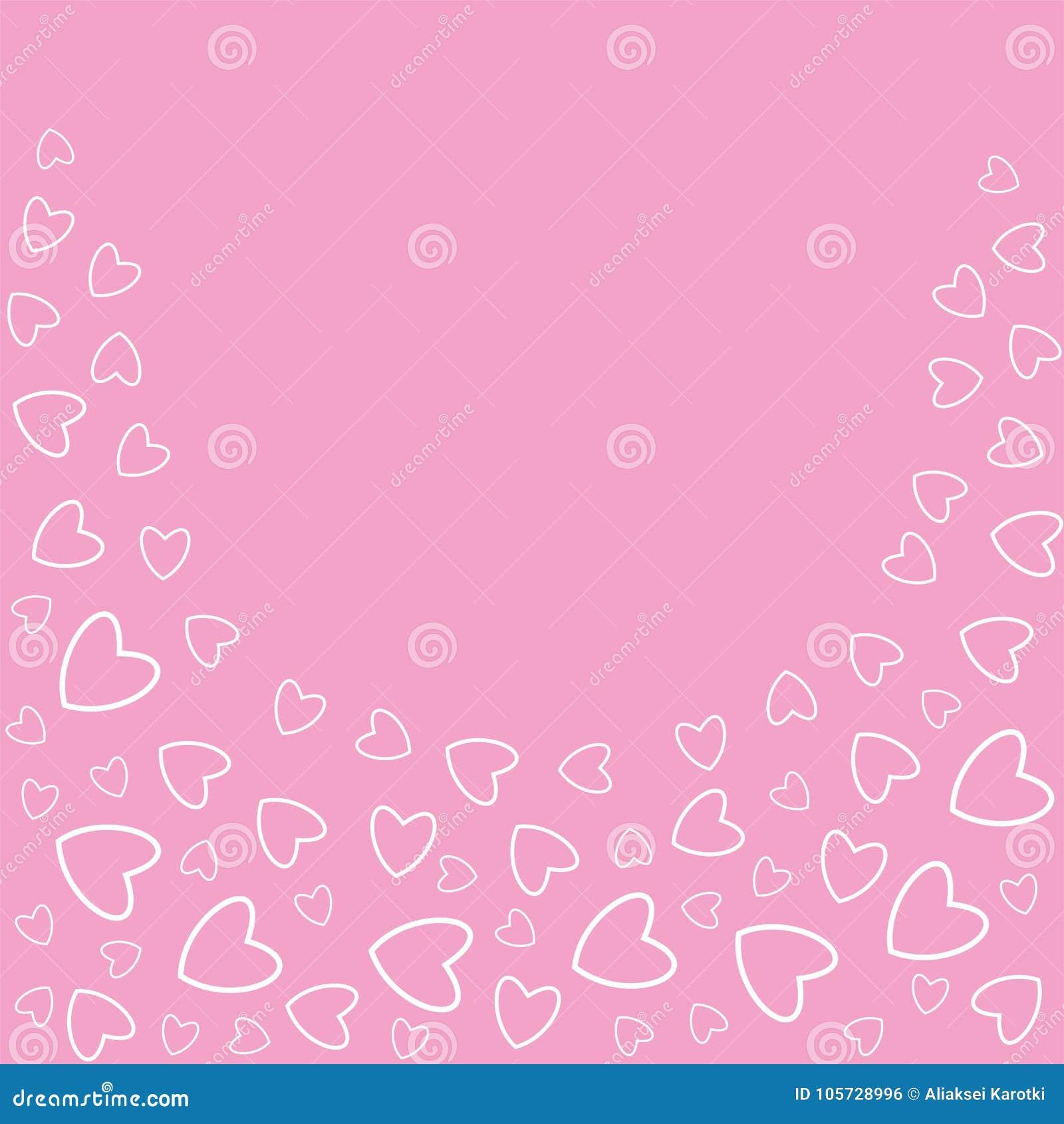 Rahmen Von Herzen Auf Einem Rosa Hintergrund Druckt, Grußkarten ...