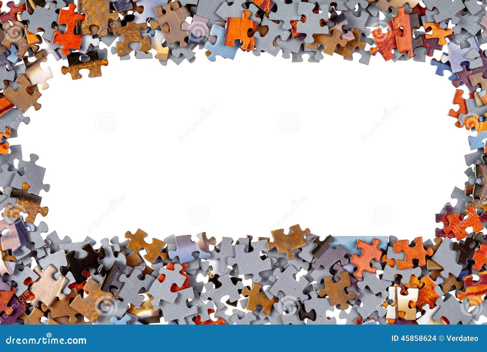 Rahmen von Puzzle-Stücken stockfoto. Bild von hintergrund - 45858624