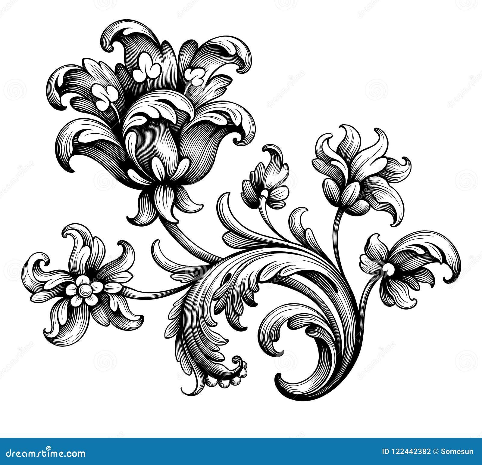 Rahmengrenzblumenverzierungsrolle der Tulpenpfingstrosenblumenweinlese gravierte barocke viktorianische mit Filigran geschmückten
