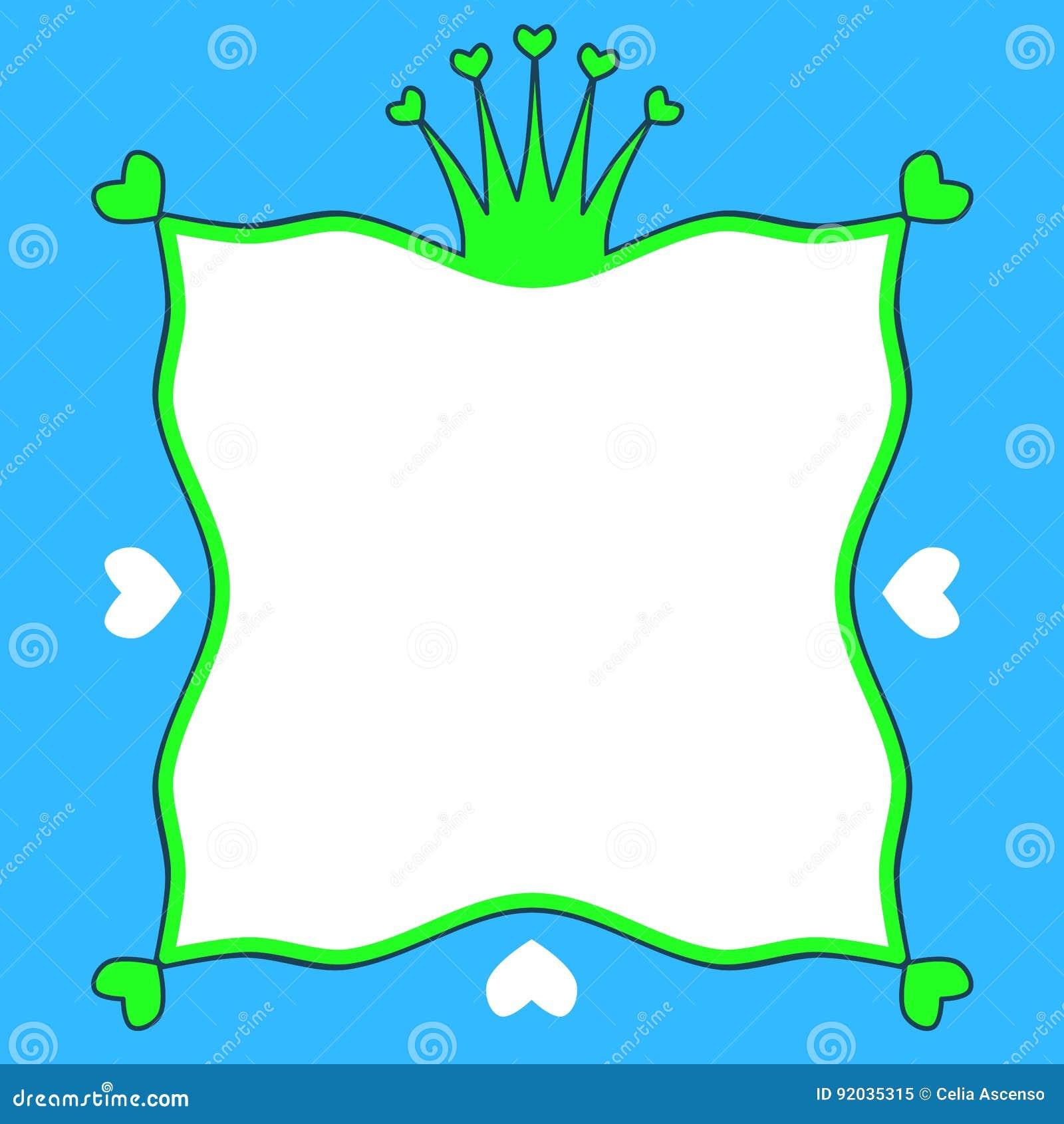 Rahmengrenze Prinzen Frog Crown Hearts Stock Abbildung ...