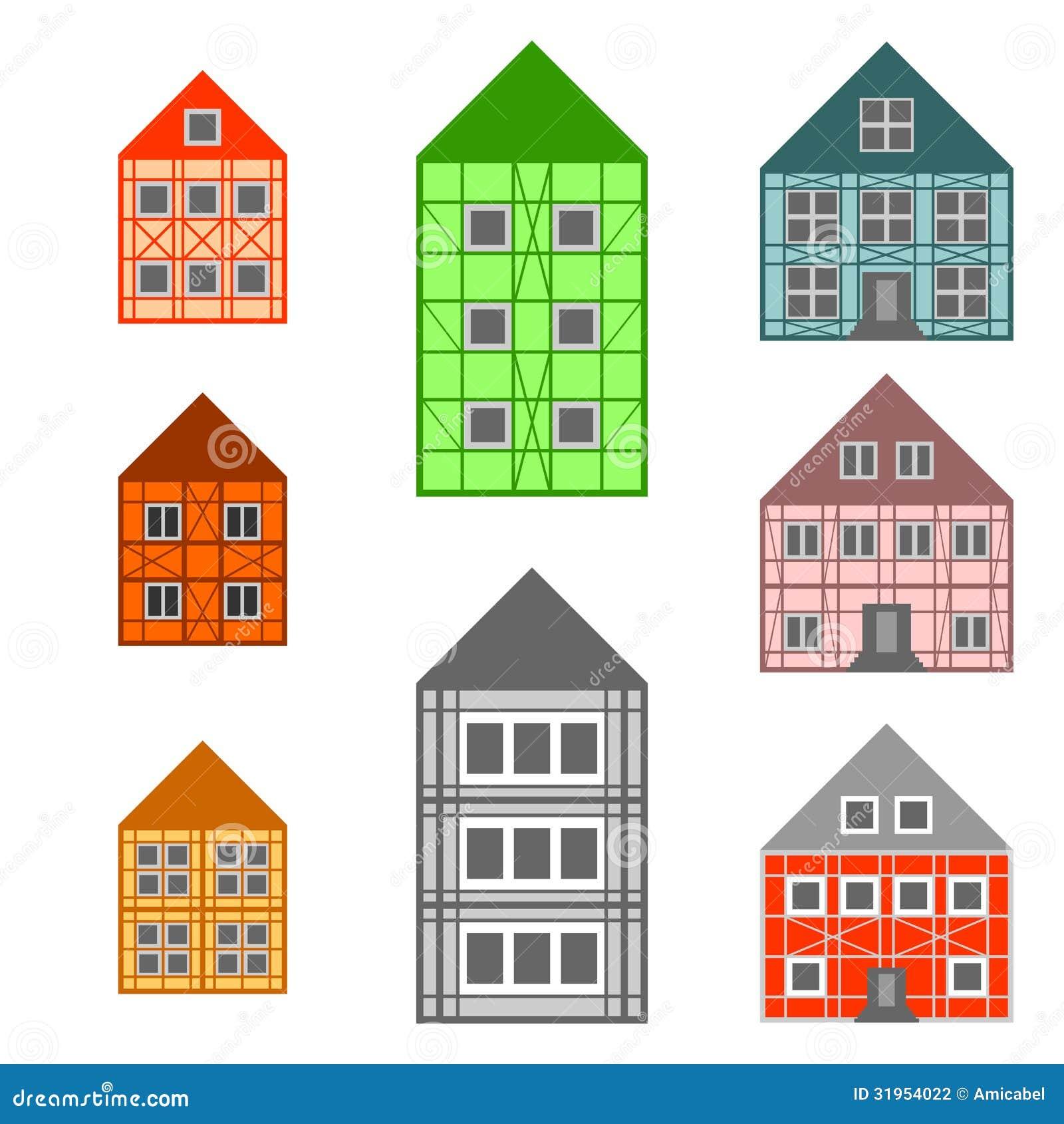 Rahmenhäuser eingestellt vektor abbildung. Illustration von stilvoll ...