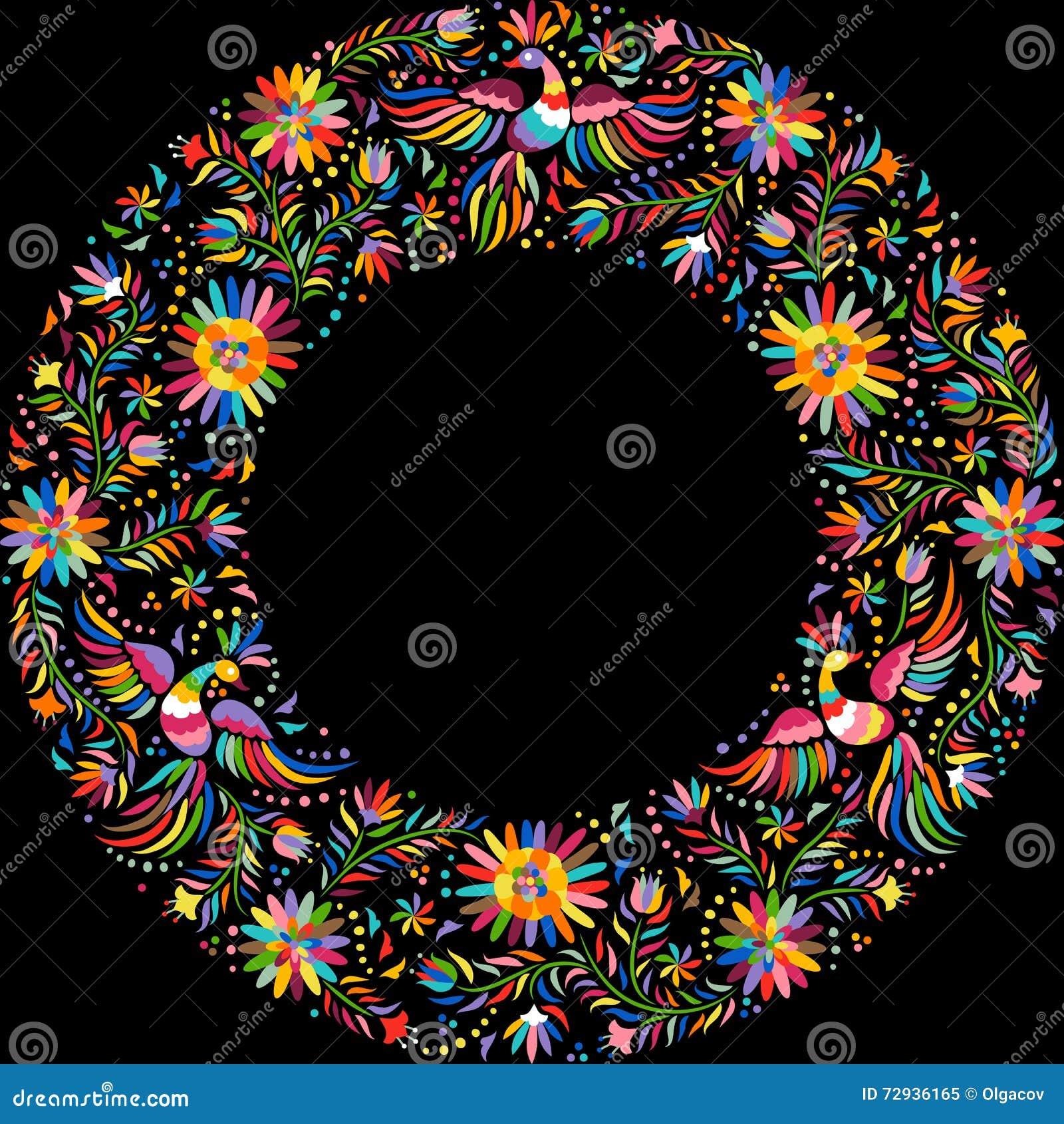 Rahmenmuster der mexikanischen Stickerei des Vektors rundes