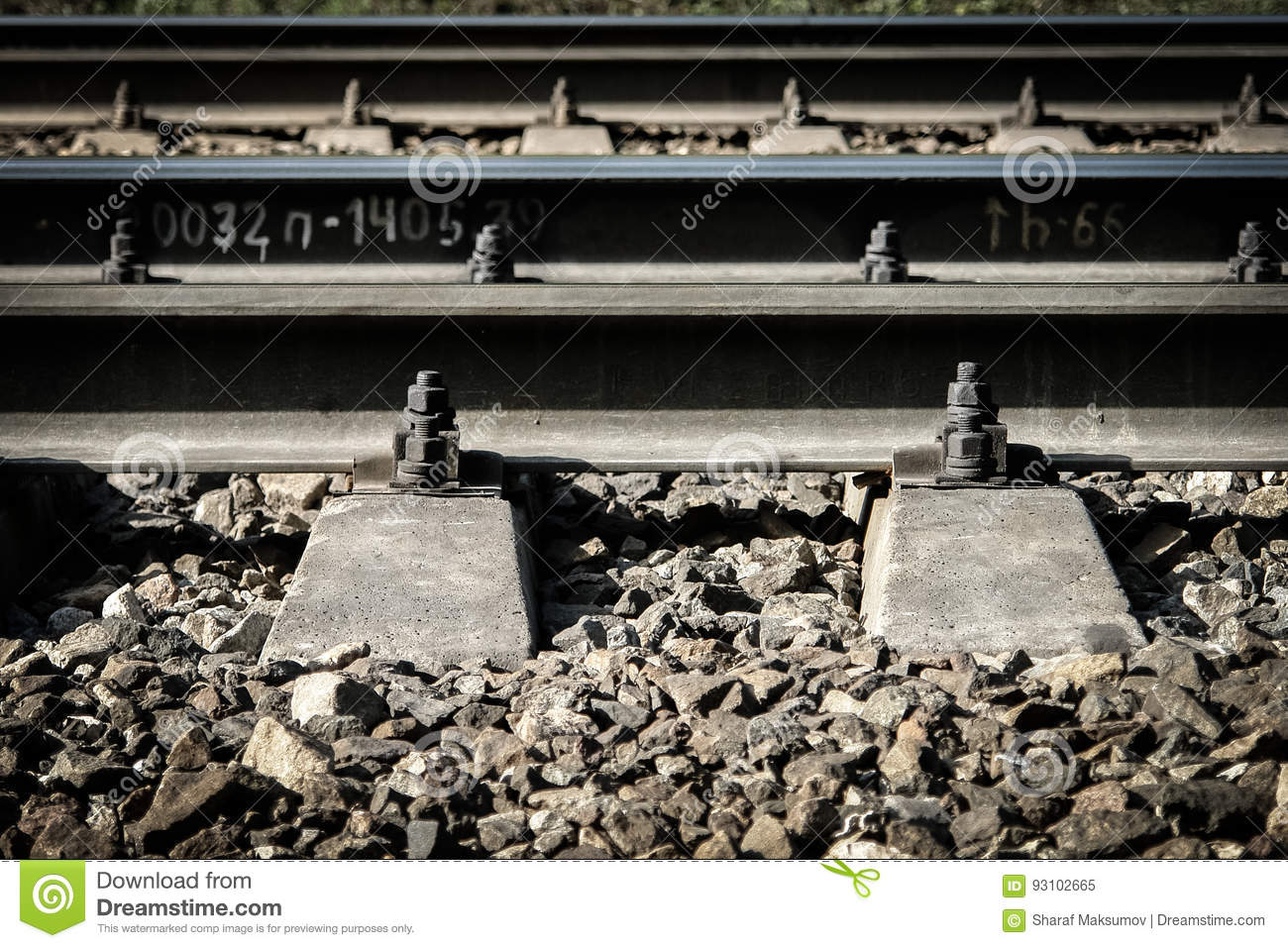 Rail anchors and joints stock image  Image of direction