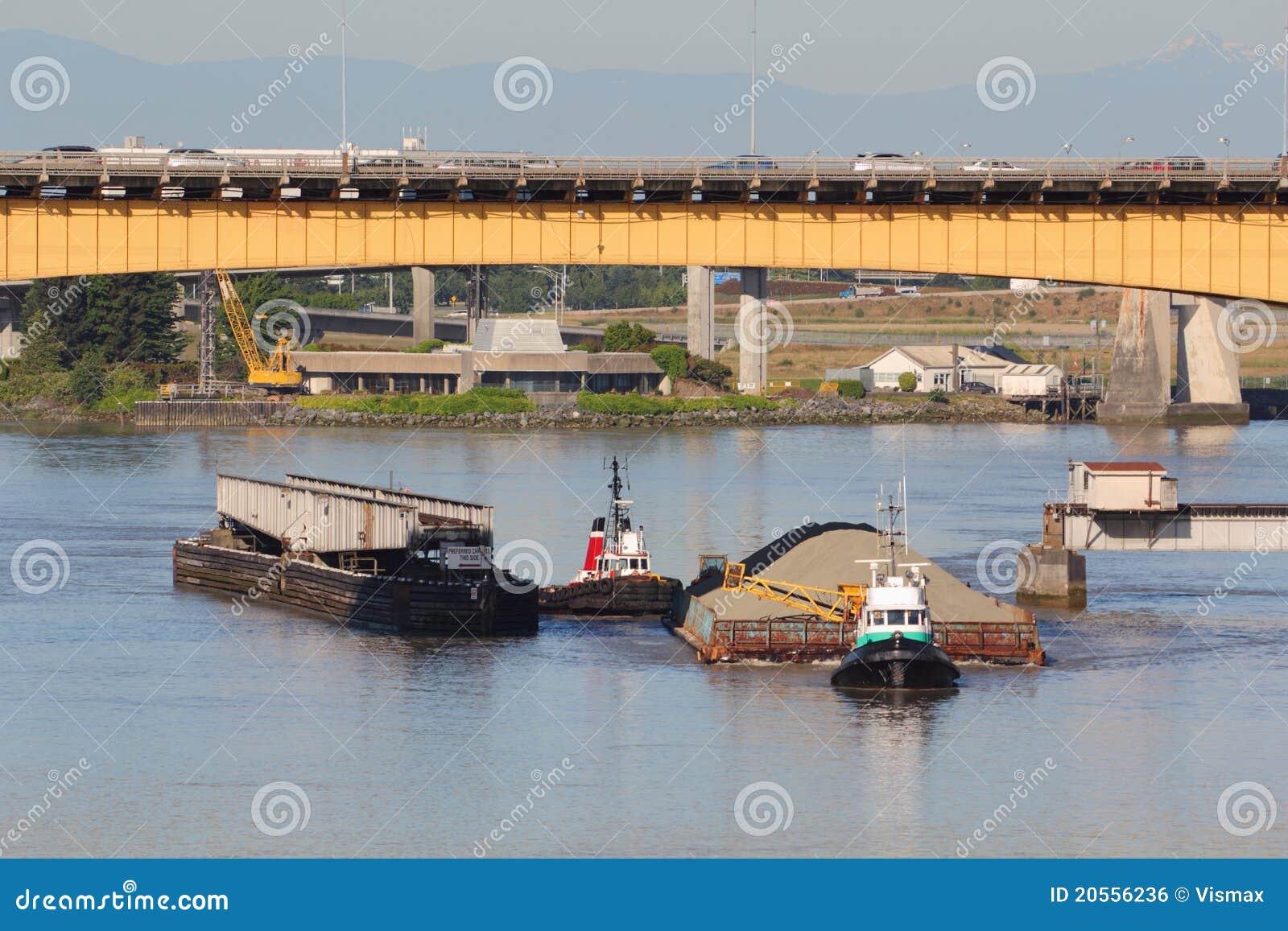 Rail Bridge Sand Barge Maneuvering Stock Photo - Image of