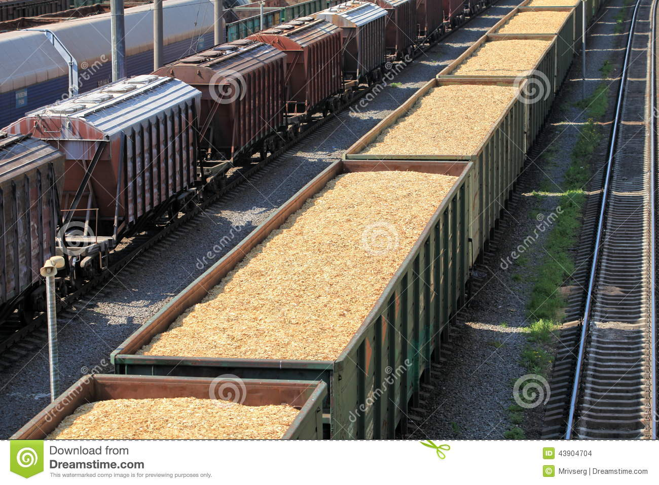 Wooden Rail Cars ~ Rail cars loaded with wood chip stock photo image of