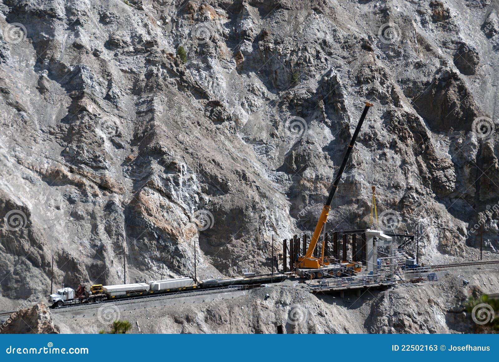 Rail construction in rocky terrain stock photos image for Construction terrain