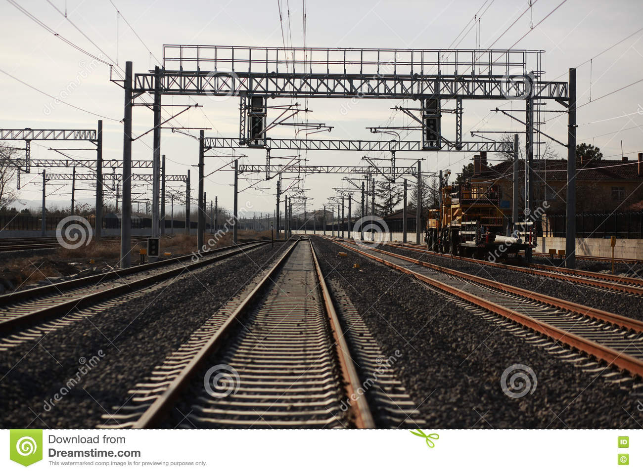 Rail And Electrical Systems Stock Photo - Image of cable, gravel ...