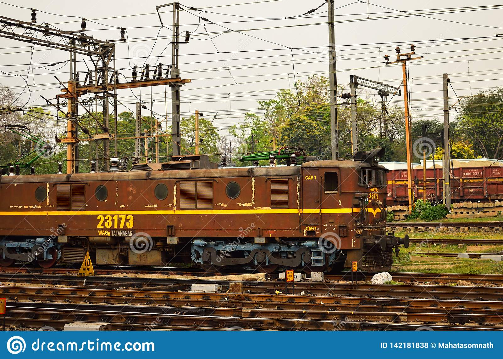 Rail engine of Indian Railway on railtracks