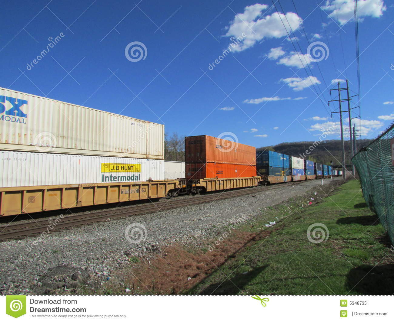 download rail road cars with intermodal containers of csx jb hunt swift and schneider